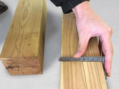 1-4 反対側の柱の高さを計り、線を入れておきます。